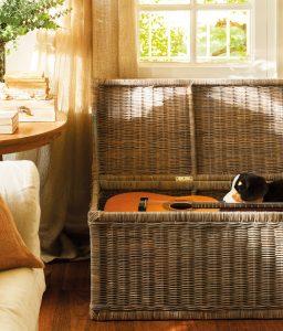 baúl de almacenamiento con guitarra dentro
