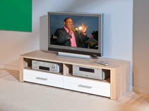 mueble de televisión marrón y blanco