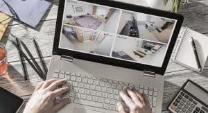 imágenes de una cámara de vigilancia en un ordenador