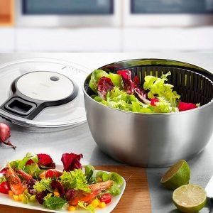 centrifugadora de ensalada metálica
