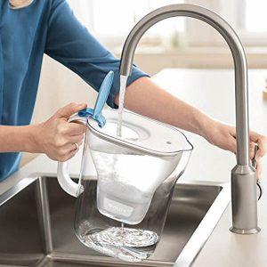 mujer llenando una jarra de agua con filtro