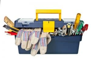 caja de herramientas con cosas