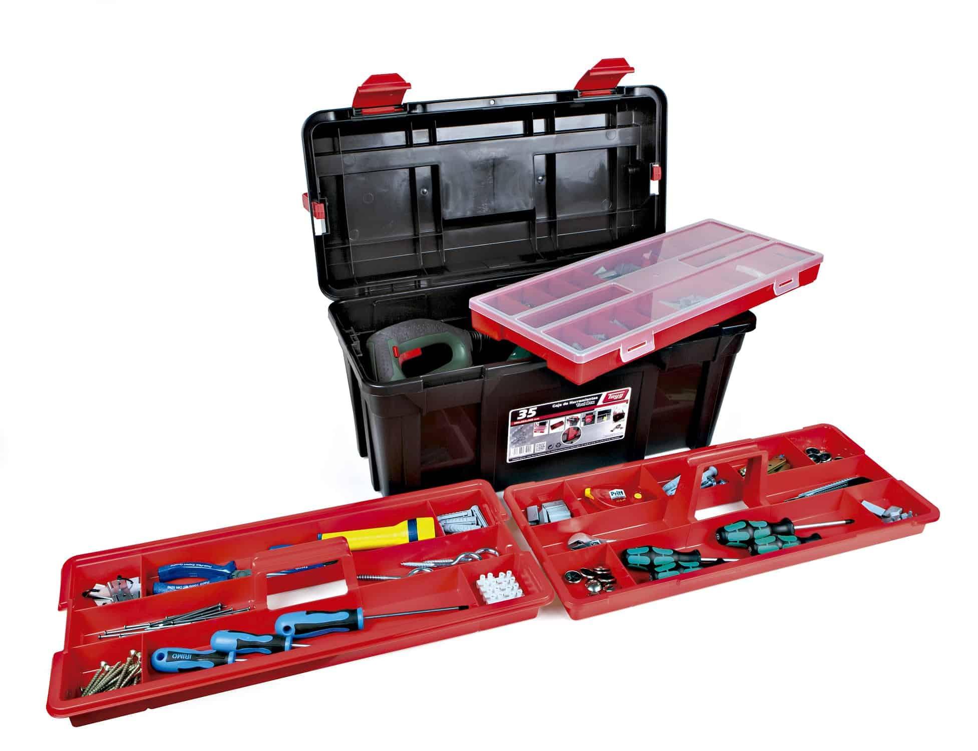 caja de herramientas con varias bandejas