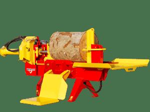 cortador de leña rojo y amarillo