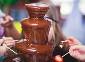 fuente de chocolate en marcha