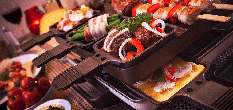 raclette con alimentos