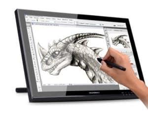 dibujo en una tableta gráfica en blanco y negro