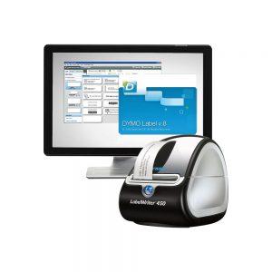 impresora de etiquetas y pantalla de ordenador detrás