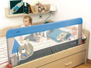 barrera de cama para bebé azul