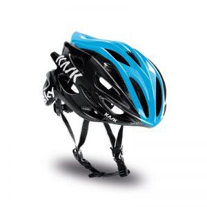 casco de bicicleta azul y negro