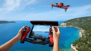 dron con cámara con controles y gran pantalla