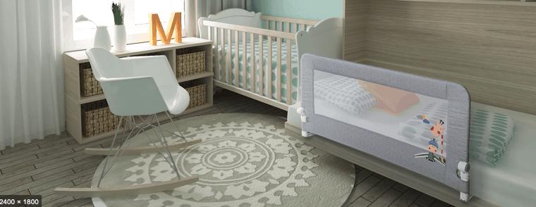 Barrera de cama para bebé en habitación de bebé