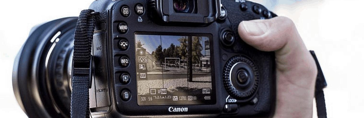 pantalla cámara de fotos réflex