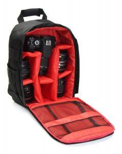 mochila para cámara con compartimentos