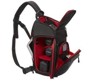 mochila para cámara abierta
