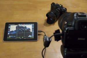 conexión de una cámara de fotos réflex