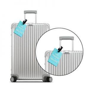 etiqueta de maleta azul