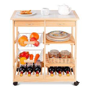 carro de cocina organizado
