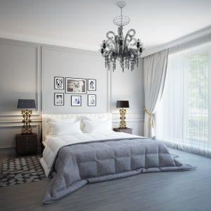 lampara araña en el dormitorio