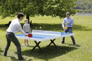 mesa de ping pong en el jardín