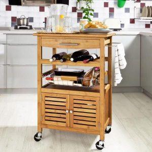 carro de cocina de madera con ruedas