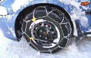 rueda en la nieve con cadenas de nieve
