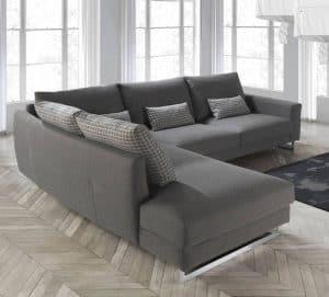 sofá con chaise longue gris