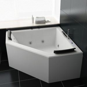 bañera de ángulo con líneas rectas