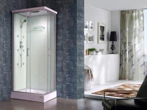 cabina de ducha pequeña blanca