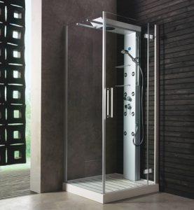 cabina de ducha con columna de ducha