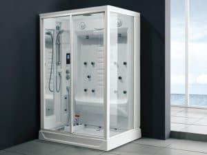 cabina de ducha blanca