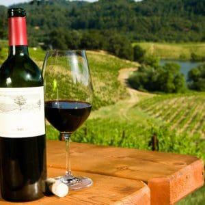 botella y copa de vino de Burdeos