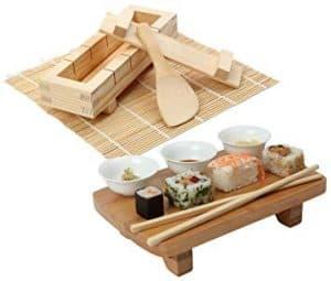 kit de sushi completo de madera
