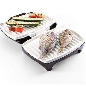 grill electrico con pescado y verduras