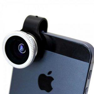 iPhone con objetivo para móvil