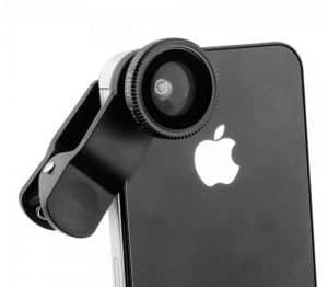 iPhone con objetivo para móvil compacto