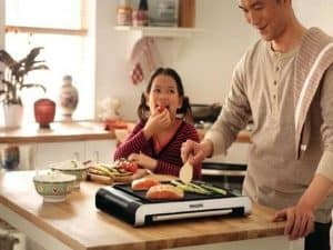 cocinar sano en plancha de cocina