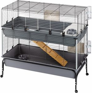 jaula para conejo de dos pisos