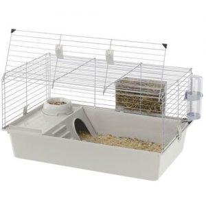 jaula para conejo blanca