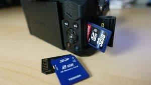 tarjetas de memoria con cámara réflex