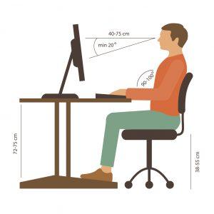 ilustración de postura correcta para sentarse
