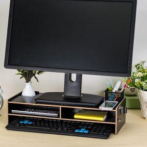 soporte para pantalla de ordenador con estantes