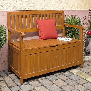 banco de jardín con baúl