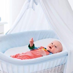 bebé en un moisés para bebé